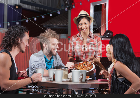 Plate of Pizza with Friends stock photo, Five laughing friends sharing plate of pizza by Scott Griessel
