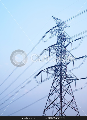 High voltage post stock photo, High voltage post against clear blue sky by Exsodus