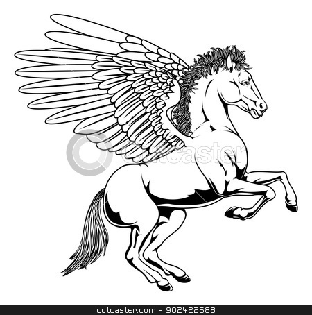 Pegasus illustration stock vector clipart, Pegasus horse with wings rearing on its back legs in black and white outline by Christos Georghiou