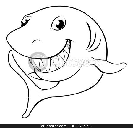 Happy cartoon shark stock vector clipart, Black and white illustration of a happy cartoon shark by Christos Georghiou