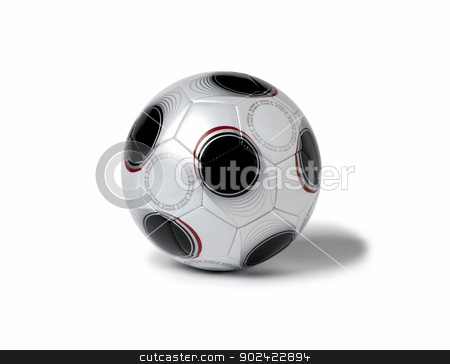 Soccer ball stock photo, Grey soccer ball on white isolated background by ABBPhoto