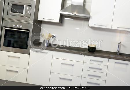 Kitchen with equipment stock photo, Kitchen with equipment ceramic white walls horizontal by ABBPhoto