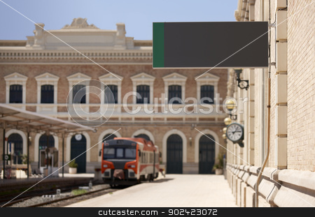 Railway station with clear sign at platforms  stock photo, Railway station with clear sign at platforms and train by ABBPhoto