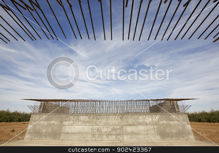 Railway bridge under construction stock photo, Railway bridge under construction outdoor blue sky and landscape by ABBPhoto