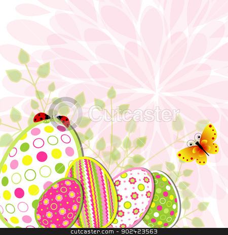 Colorful Easter holiday illustration stock vector clipart, Colorful Easter holiday illustration on flower background by meikis