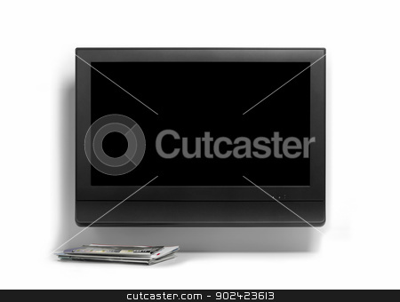 Tv on a wall stock photo, Tv on a wall with press isolated on white by ABBPhoto