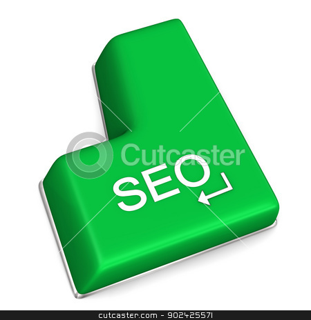 SEO Enter Key stock photo, Green enter key with text SEO on the white background. by Alexander Limbach