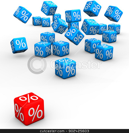 Incomparable Sale stock photo, Blue and red cubes on the white background. 3d illustration. by Alexander Limbach