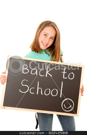 back to school student stock photo, student with back to school written on blackboard by mandygodbehear