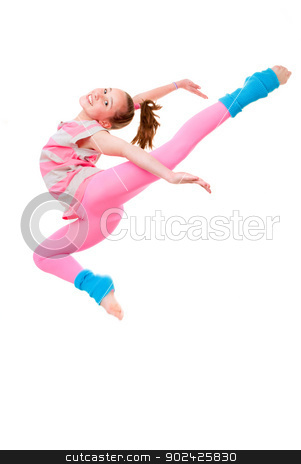 child ballet jump stock photo, happy child or girl doing ballet jump by mandygodbehear