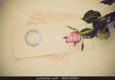 love letter stock photo, old retro vintage love letter with rose. by mandygodbehear