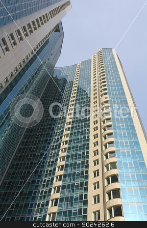skyscraper stock photo, modern high-rise apartment buildings in St. Petersburg by mrivserg