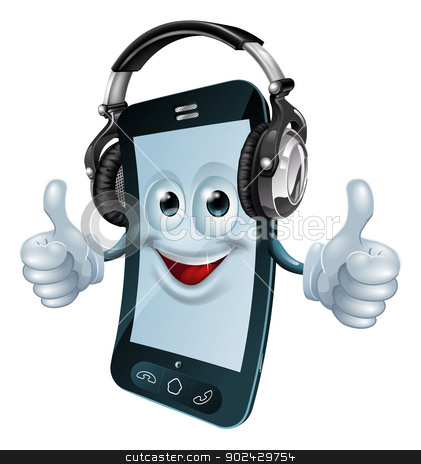 Headphones cell phone stock vector clipart, A mobile phone cartoon man with dj headphones on giving the thumbs up. Concept for a music phone app or similar. by Christos Georghiou