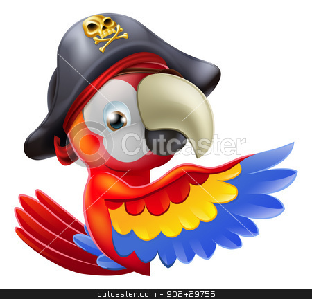 Parrot pirate pointing stock vector clipart, A drawing of a cartoon parrot pirate character leaning round a sign or banner and pointing with his or her wing by Christos Georghiou