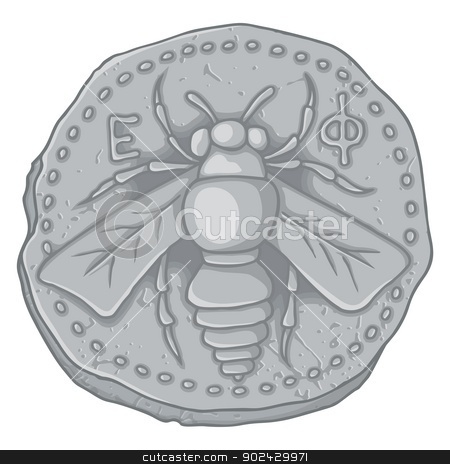 Honey bee coin stock vector clipart, Ancient Greek coin of Ephesus Ionia 400 BC with honey bee  symbol of Artemis goddess and the letters epsilon phi. by fractal.gr