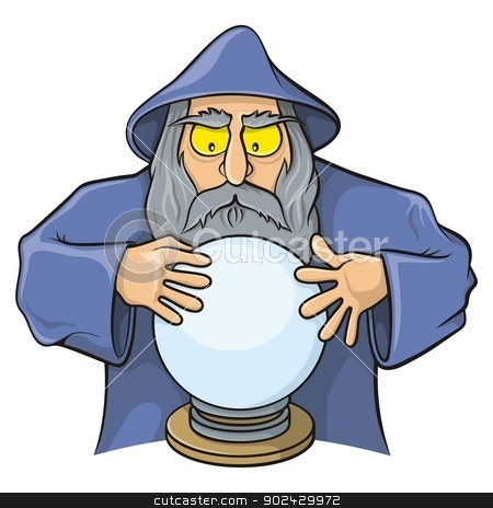 Wizard with magic ball stock vector clipart, Old wizard cartoon looking at magic ball. by fractal.gr