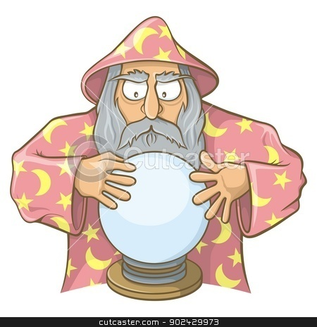 Wizard in pink cape with magic ball stock vector clipart, Old wizard cartoon in pink cape looking at magic ball. by fractal.gr