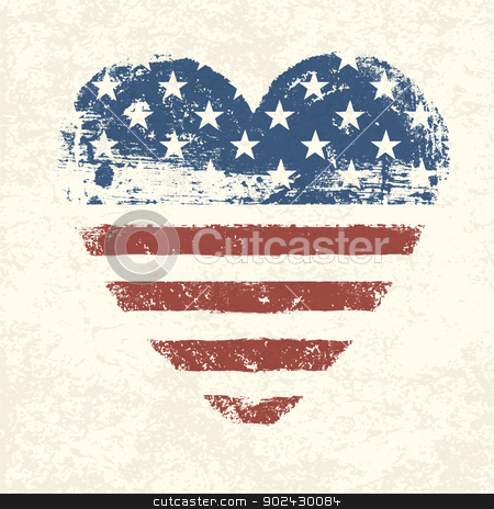 Heart shaped american flag. Vector, EPS10 stock vector clipart, Heart shaped american flag. Vector, EPS10 by pashabo