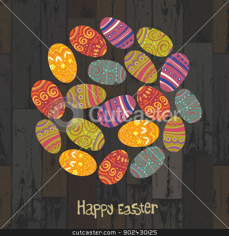 Easter eggs. Circle shaped on wooden planks background. Vector,  stock vector clipart, Easter eggs. Circle shaped on wooden planks background. Vector, EPS10 by pashabo