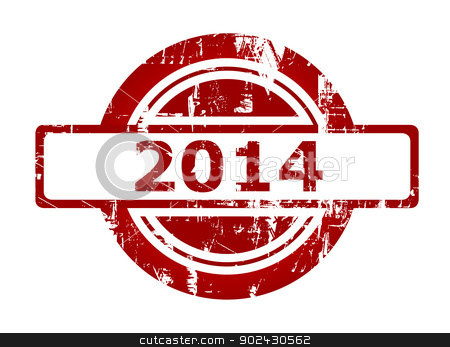 2014 red stamp stock photo, 2014 red stamp with copy space isolated on white background. by Martin Crowdy