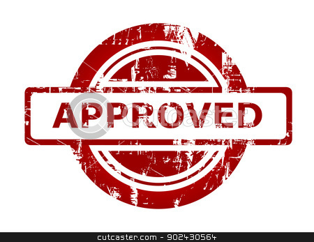Approved business stamp stock photo, Used red stamp with copy space isolated on white background. by Martin Crowdy