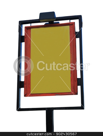 Blank pub sign stock photo, Blank yellow pub sign isolated on white background with copy space. by Martin Crowdy