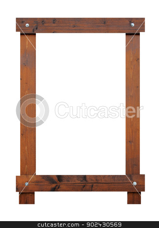 Blank wooden frame with copy space stock photo, Blank wooden frame with copy space, white background. by Martin Crowdy