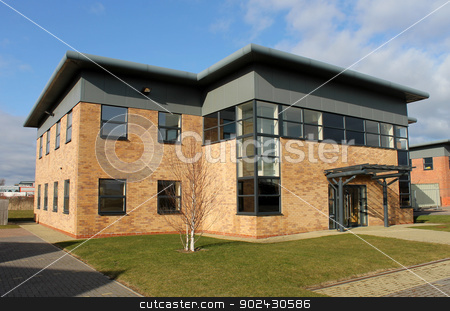 Empty new office building stock photo, Empty new office building on business park, Scarborough, England. by Martin Crowdy