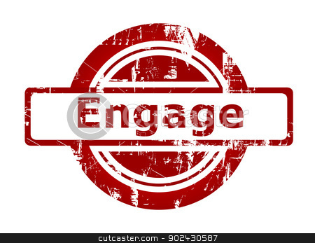 Engage red stamp stock photo, Engage red stamp with copy space isolated on white background. by Martin Crowdy