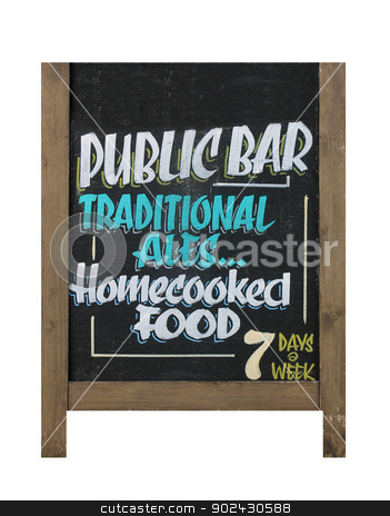 English pub sign stock photo, Traditional English pub sign isolated on white background. by Martin Crowdy