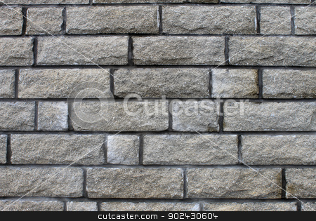 Gray brick wall stock photo, Abstract background of grey or gray brick wall. by Martin Crowdy