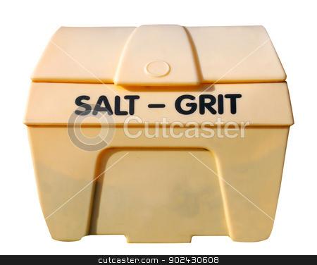 Industrial salt and git bin  stock photo, Industrial salt and git bin isolated on white background. by Martin Crowdy