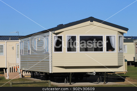 Mobile home on caravan park stock photo, Exterior of modern mobile home on caravan park, Scarborough, England. by Martin Crowdy