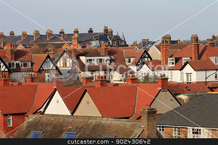 Modern housing estate stock photo, Red roof tops on modern housing estate, Scarborough, England. by Martin Crowdy