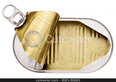 empty open tin can stock photo, empty open tin can isolated on white by Marek Uliasz