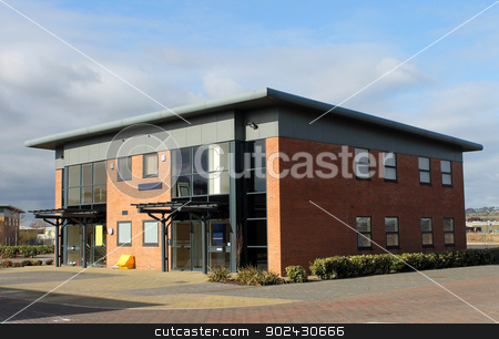 Office building in business park stock photo, Exterior of vacant office building on modern business park, Scarborough, England. by Martin Crowdy