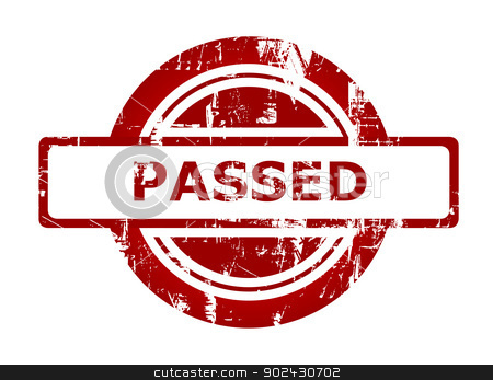 Passed red stamp stock photo, Passed red stamp isolated on white background. by Martin Crowdy