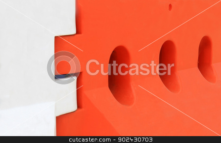 Plastic crash barrier stock photo, Plastic crash barrier used in the construction industry. by Martin Crowdy