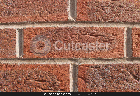 Red brick wall stock photo, Abstract textured background of red brick wall. by Martin Crowdy