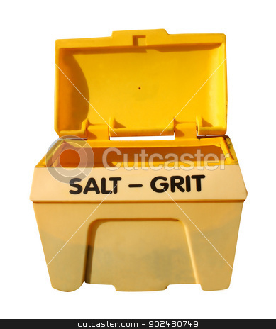 Salt grit bin stock photo, Open yellow salt and grit bin isolated on white background. by Martin Crowdy