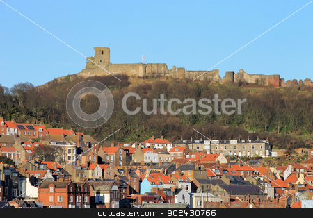 Scarborough Castle and old town stock photo, Scenic view of Scarborough Castle and Old town, England. by Martin Crowdy