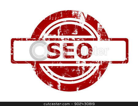 SEO red stamp stock photo, SEO red stamp with copy space isolated on white background. by Martin Crowdy