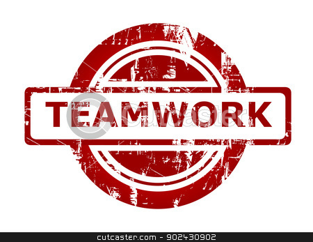 Teamwork business stamp stock photo, Teamwork business stamp with copy space isolated on white background. by Martin Crowdy