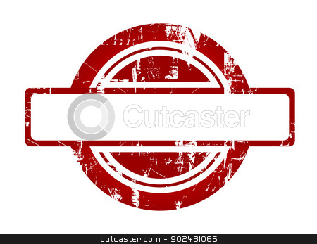 Used red stamp stock photo, Used red stamp with copy space isolated on white background. by Martin Crowdy