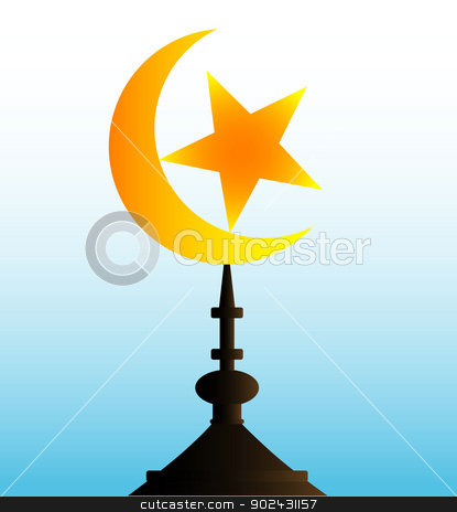 Crescent Moon and Star stock vector clipart, A crescent moon and star atop a temple. by Kotto