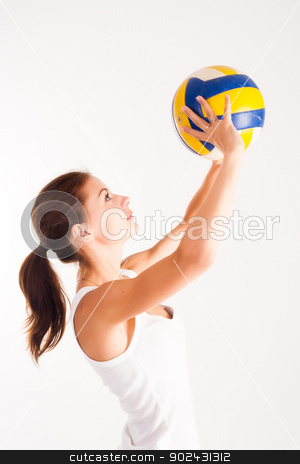 young  beauty volleyball player stock photo, young, beauty volleyball player at white background by Aikon