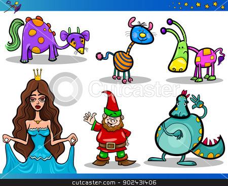 Cartoon Fantasy Characters Set stock vector clipart, Cartoon Illustrations Set of Fairytale or Fantasy Characters by Igor Zakowski