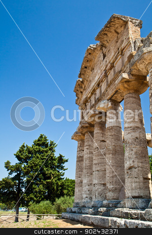 Paestum temple - Italy stock photo, The main features of the site today are the standing remains of three major temples in Doric style, dating from the first half of the 6th century BC by Paolo Gallo