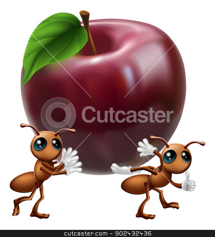 Ants carrying a big apple stock vector clipart, An illustration of two ant characters carrying a big apple. A conceptual illustration for teamwork or helping each other. by Christos Georghiou