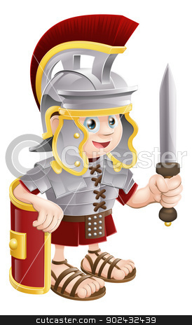 Roman Soldier with Sword stock vector clipart, Illustration of a cute happy Roman soldier holding a sword and a shield by Christos Georghiou